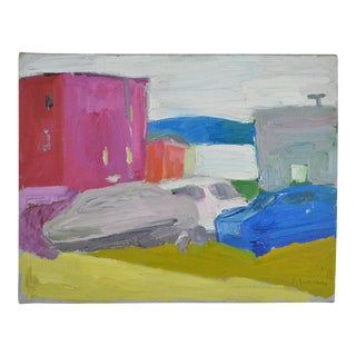 20th Century Abstract Oil on Canvas Urban Street Scene by Theodore Roy Turner