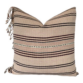 Vintage Pink and Blue Stripe Textile Pillow With Fringe For Sale