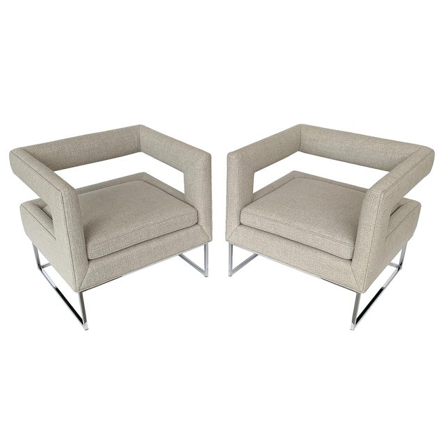 Milo Baughman Open Back Lounge Chairs - a Pair For Sale - Image 13 of 13