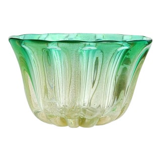 Murano Gold Flecks Green Sommerso Italian Art Glass Bowl Vase For Sale