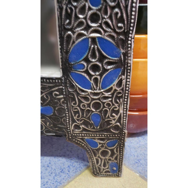 2010s Moroccan Ultra Arched Metal Inlaid Mirror, Rabat, Dark Blue Motif For Sale - Image 5 of 7
