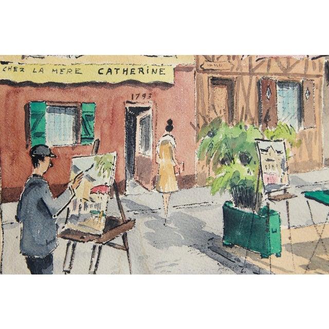 Mid-Century Paris Street Watercolor - Image 4 of 8
