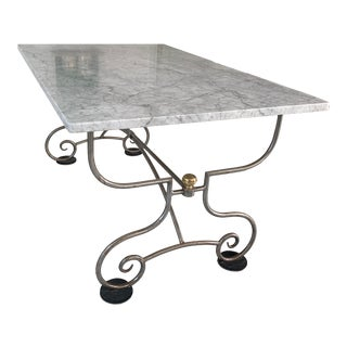 Marble Top Kitchen Breakfast Table For Sale