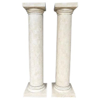 Tessellated Stone Columns - a Pair For Sale