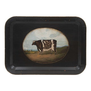 Vintage Farm Animal Tray Depicting Country Cow For Sale