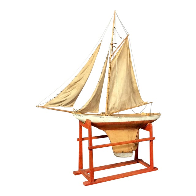 Late 19th Century Tin Pond Sailboat on Stand For Sale