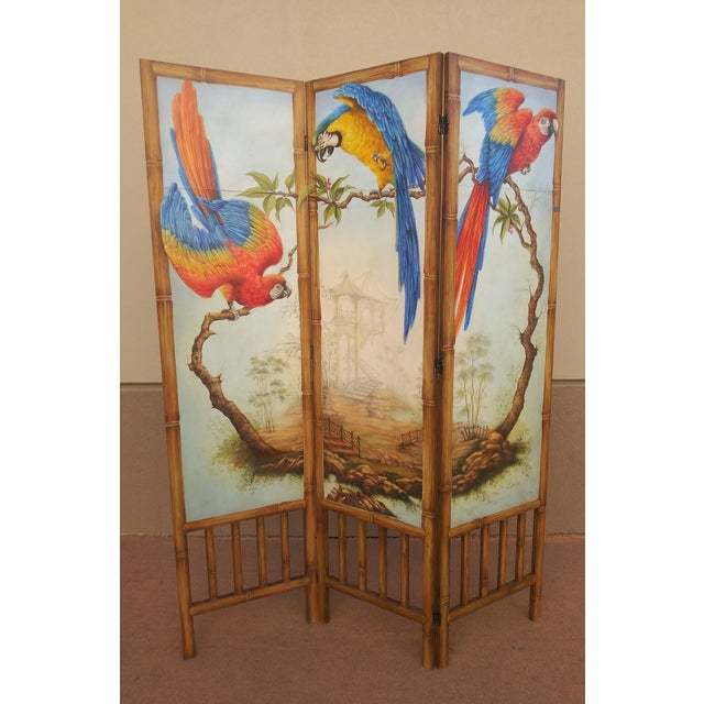 Realism Chinoiserie Picturesque Tropical Double Sided Hand Painted Room Divider For Sale - Image 3 of 13