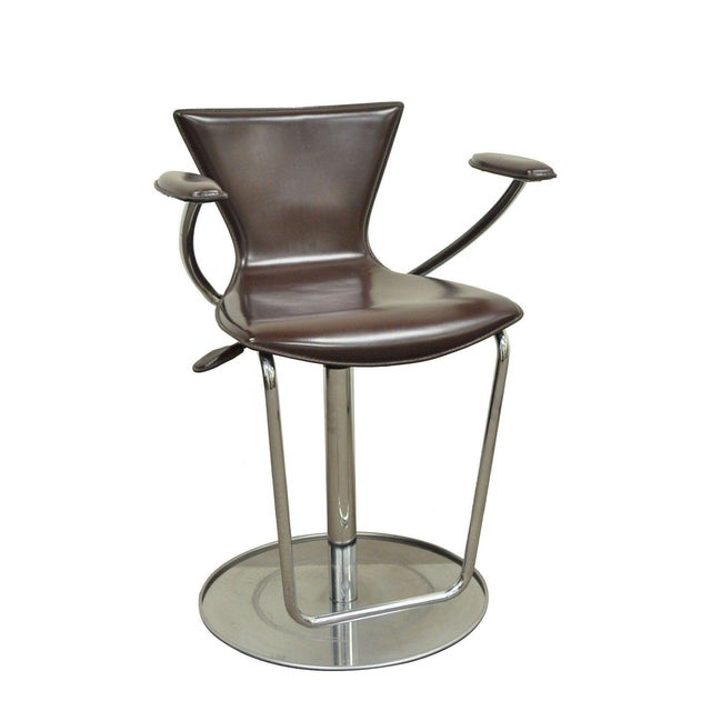 Serico Contemporary Italian Modern Brown Leather Chrome Adjust Bar Stool Chair B For Sale - Image 11 of 11