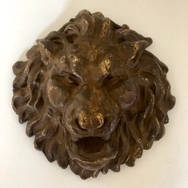 Early 1900s French Plaster Lion Head Plaque For Sale - Image 4 of 4