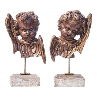 20th C. Italian Style Wood Cherub Fragments - A Pair For Sale