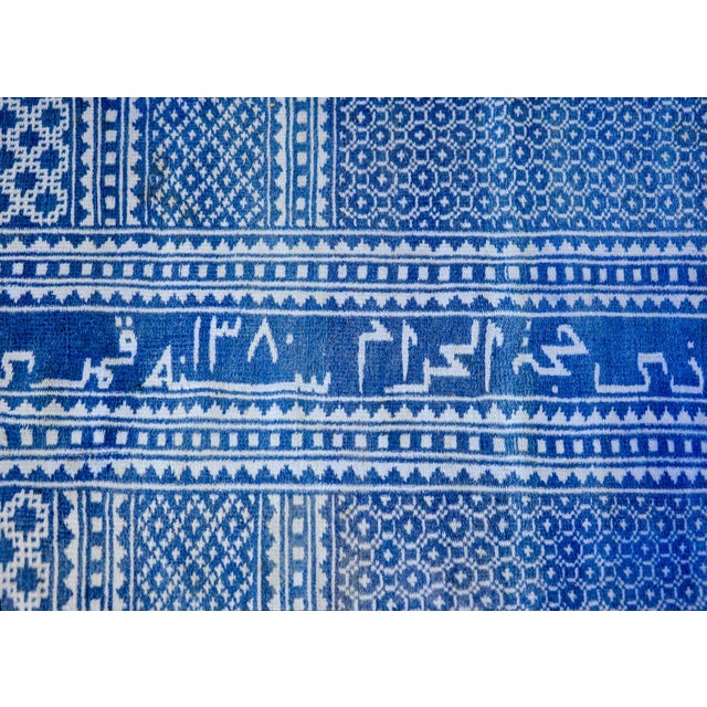 Gorgeous Vintage Blue and White Yadz Kilim Rug For Sale - Image 4 of 13