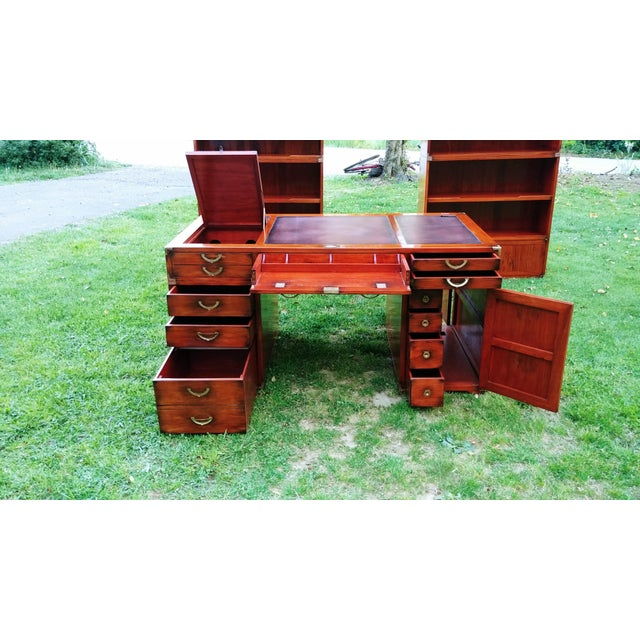 Animal Skin Traditional Starbay Rosewood Richelieu Leather Top Executive Desk For Sale - Image 7 of 13