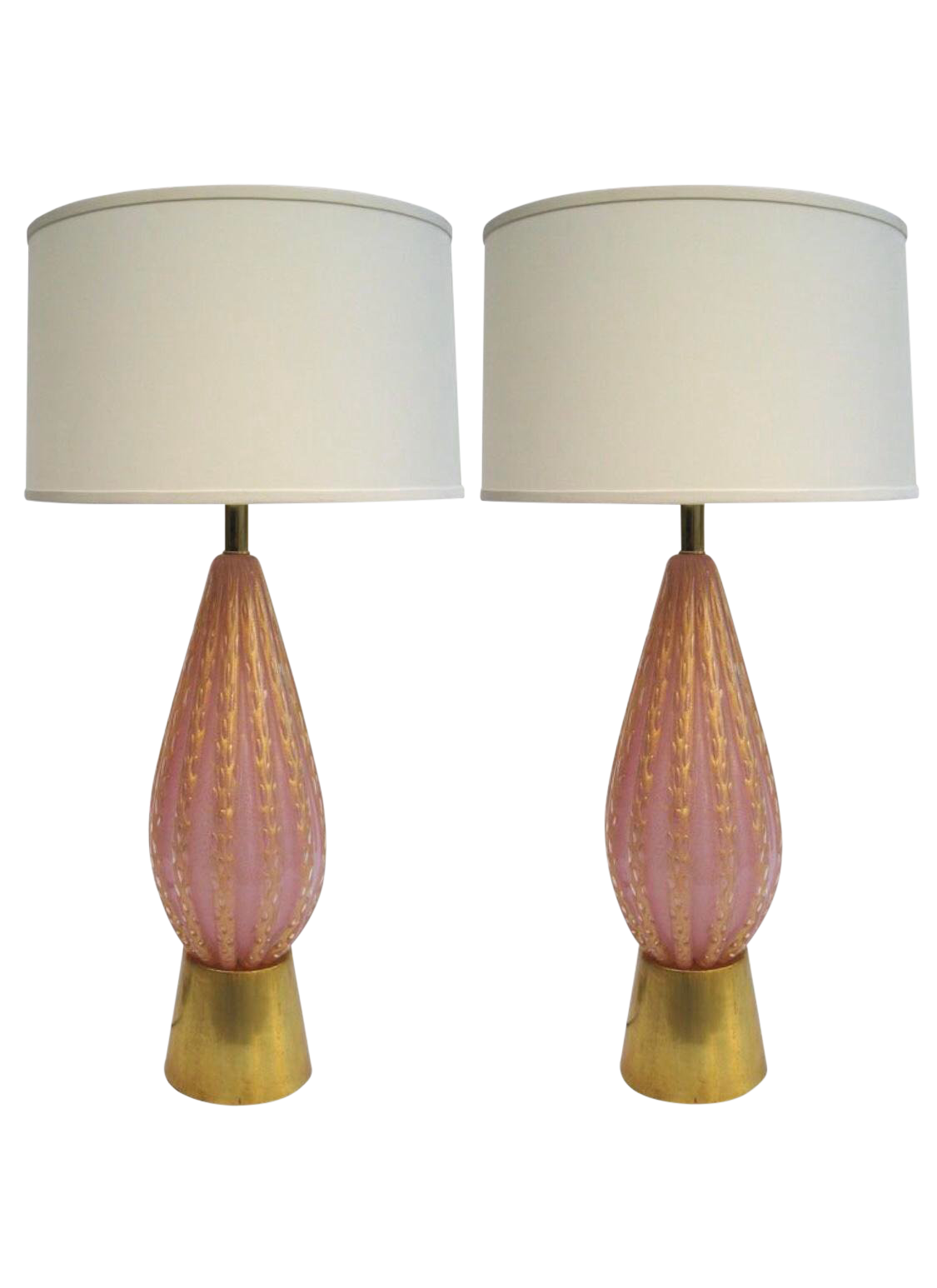 Pair Of Vintage Large Fratelli Toso Pink Gold Murano Glass Table