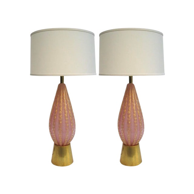 Pair of Vintage Large Fratelli Toso Pink & Gold Murano Glass Table Lamps For Sale