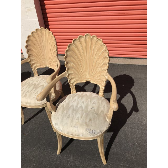 Grotto Italian Carved Wood Seashell Shell Back Dining Chair For Sale In Los Angeles - Image 6 of 12