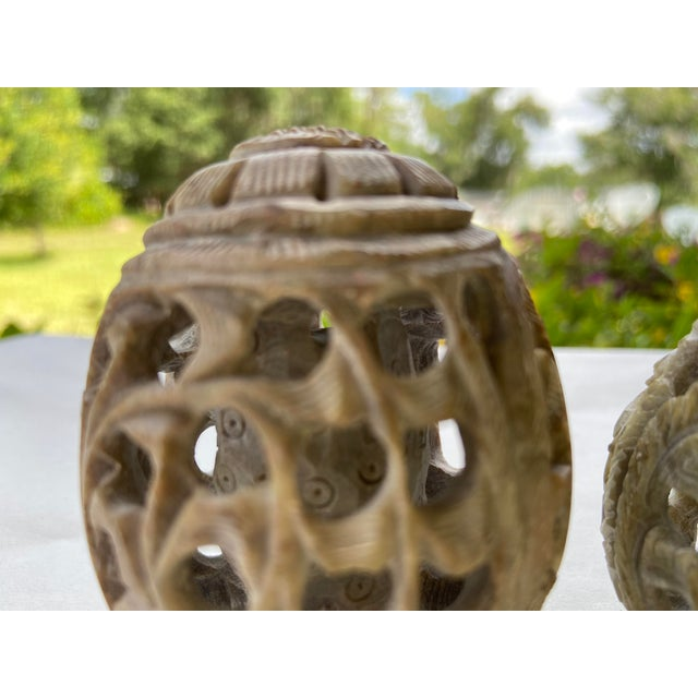 Mid 20th Century Vintage Stone Hand-Carved Eggs- a Pair For Sale - Image 5 of 12