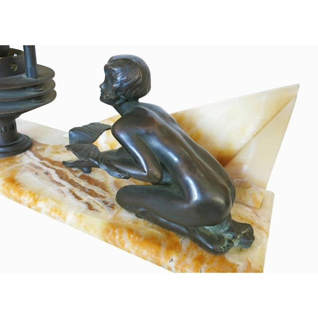 Yellow Art Deco Styled Italian Marble Desk Lamp with Bronze Nude For Sale - Image 8 of 9