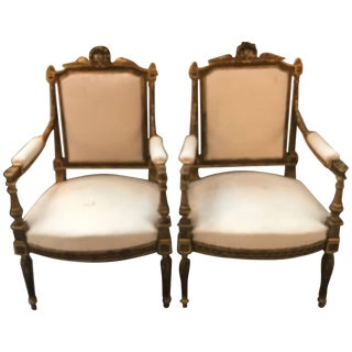 Vintage Mid-Century Louis XVI Style Gilt Wood Chairs - A Pair For Sale