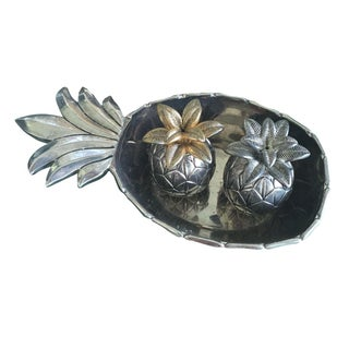 Vintage Silver Pineapple Bowl With Matching Pineapple Salt & Pepper Shaker Set For Sale