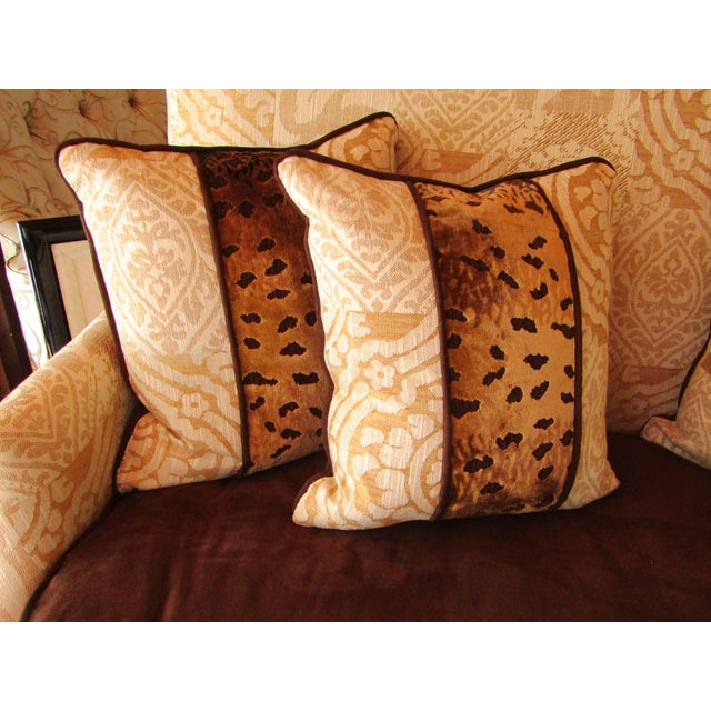 Contemporary Southwood Damask and Chenille Leopard Print Settee with Pillows - 3 Pieces For Sale - Image 11 of 12