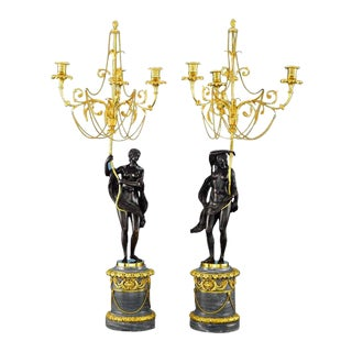 18th Century Russian Figural Bronze Candelabra - A Pair