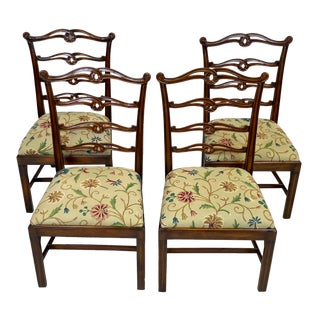 Vintage Chippendale Style Carved Mahogany Ribbon Back Dining Chairs - Set of 4 For Sale