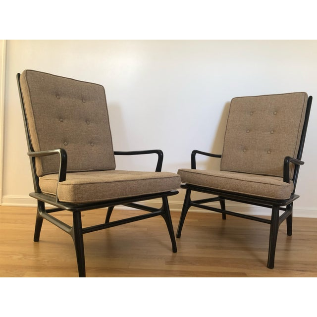 Wood Mid Century Ebonized Chairs - a Pair For Sale - Image 7 of 8