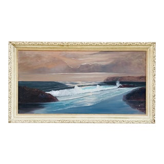 1960s Mid Century Seascape Painting in Frame For Sale