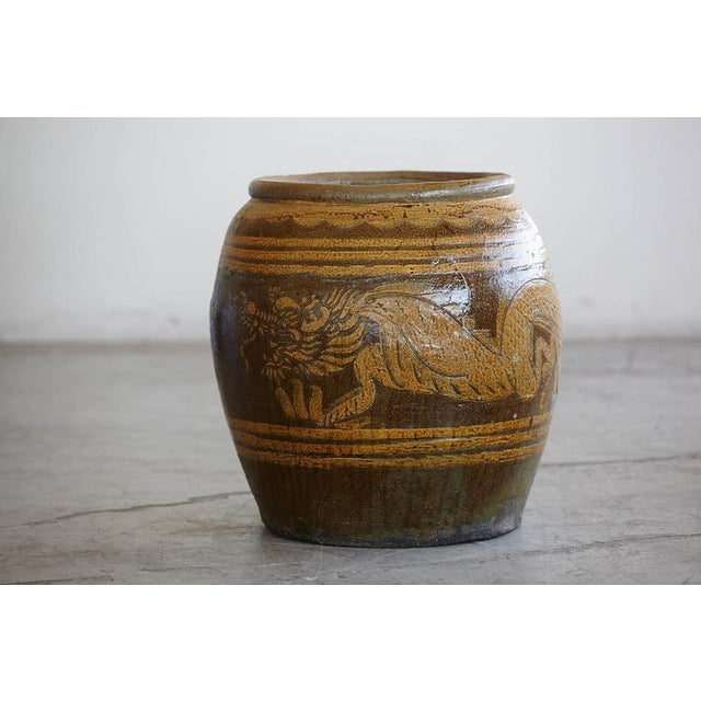 Asian Korean Glazed Clay Dragon Water Jar For Sale - Image 3 of 8