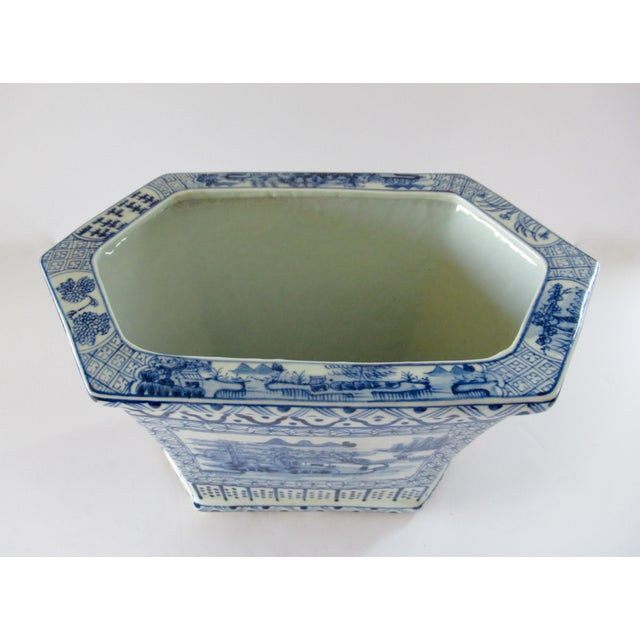 Asian Style Chinoiserie Blue & White Hexagonal Jardiniere For Sale - Image 4 of 13