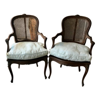Vintage French Country Carved Walnut & Caned Armchairs - a Pair For Sale