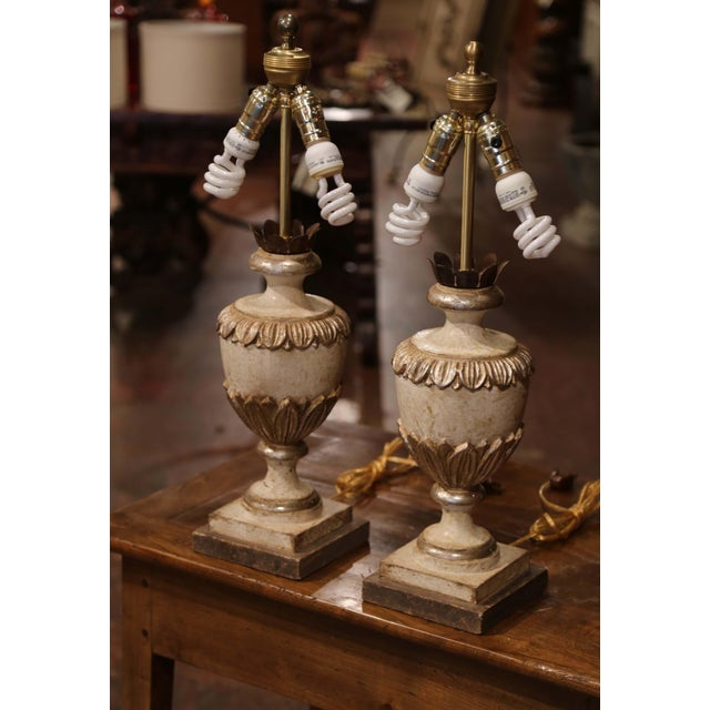 White Italian Carved Wood Polychrome and Painted Urn Shape Table Lamps - a Pair For Sale - Image 8 of 13
