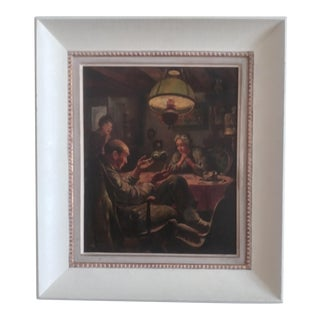 """1930s """"The Roll of Money Depression Era Book Illustration"""" Oil Painting, Framed For Sale"""
