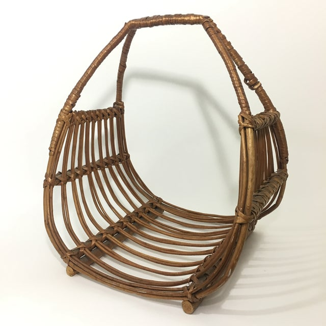 Franco Albini Attributed Rattan Magazine Rack For Sale In New York - Image 6 of 7