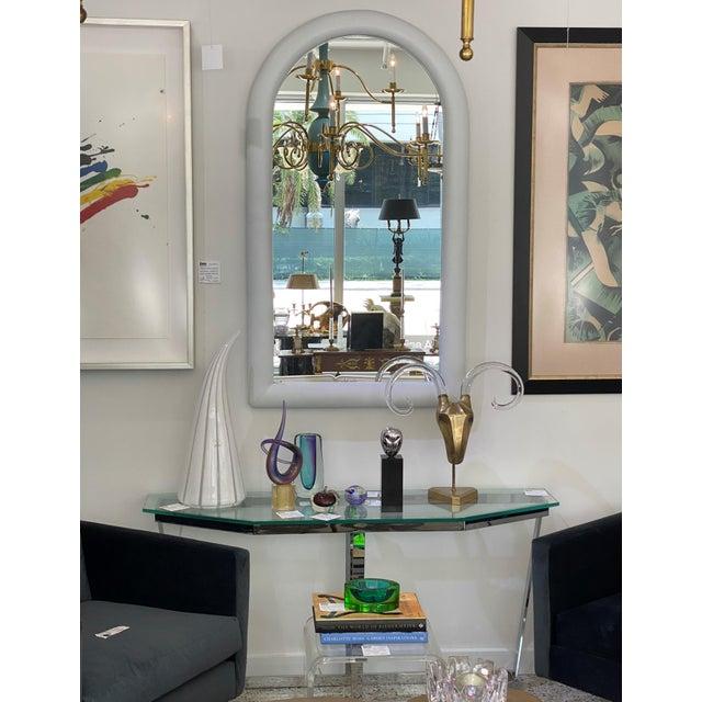 Vintage Karl Springer Style Faux Snakeskin Upholstered Mirror For Sale - Image 9 of 11