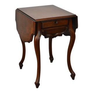Antique Victorian Walnut Drop Leaf Cabriole Leg Work Table w/ Drawer For Sale