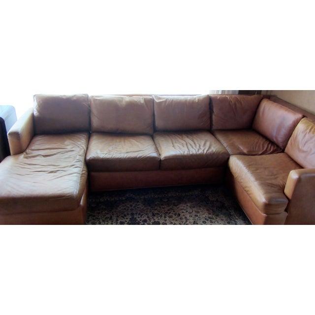 Custom Saddle Leather Sectional & Ottoman - Image 5 of 11