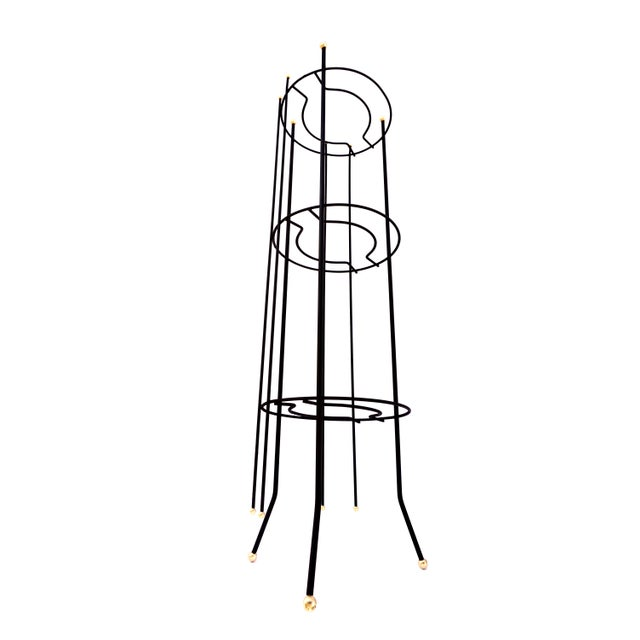 Frederick Weinberg Mid-Century Atomic Era 3-Tier Metal Plant Stand ||Retro/Industrial Chic Black & Gold Tri-Level Vertical Tall Planter Stand || Sputnik Design For Sale - Image 4 of 11