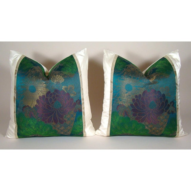 Emerald Antique Japanese Silk Obi Lotus Flower Pillow Cover For Sale - Image 8 of 10