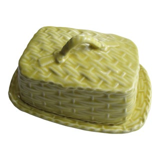 Sylvac English Pottery Yellow Basket-Weave Butter Dish For Sale