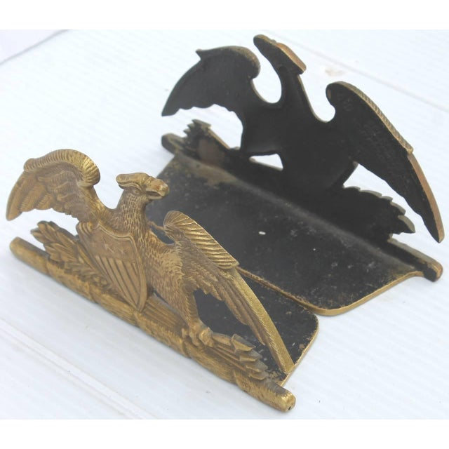 Brass Brass Patriotic Eagle Bookends For Sale - Image 7 of 9
