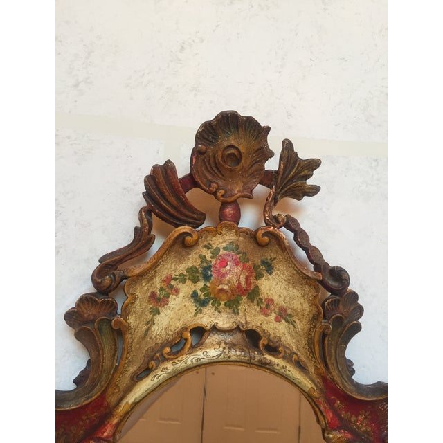 Late 19th Century Antique Venetian Hand-Painted Wooden Mirror For Sale - Image 5 of 8