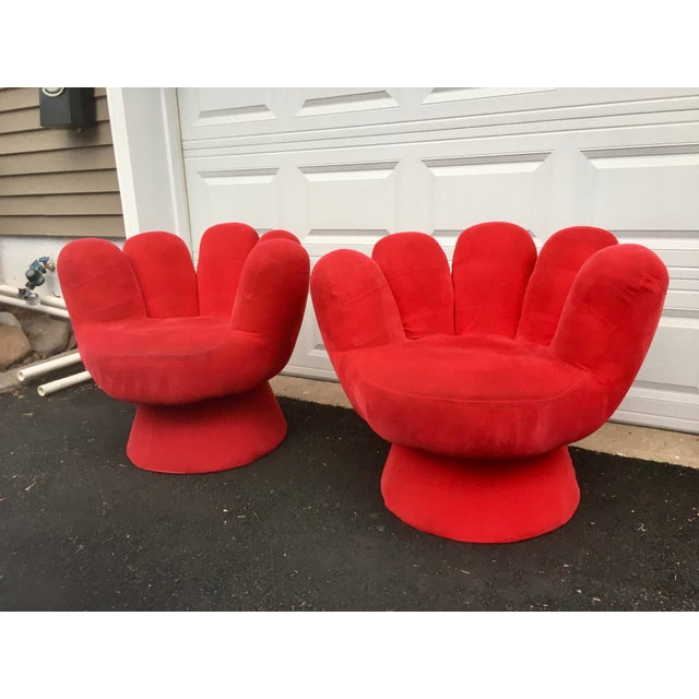 Contemporary Vintage Contemporary Red Hand Chair- a Pair For Sale - Image 3 of 11