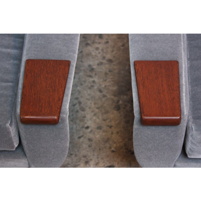 Pair of Danish Modern Teak and Mohair Lounge Chairs - Image 9 of 11