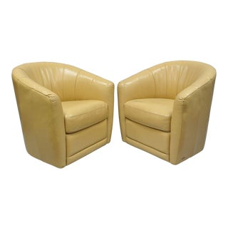 Natuzzi Swivel Leather Barrel Back Chairs - A Pair For Sale