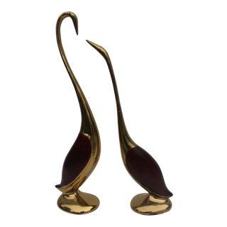 Vintage Brass Cranes Decorative Table Sculptures a Pair