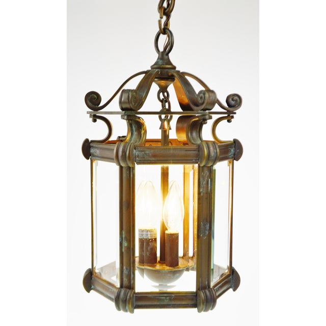 Bronze & Beveled Glass 3 Light Lantern Light Fixture - Image 2 of 11