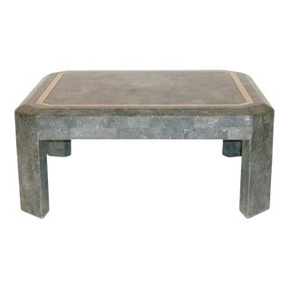 American Modern Cocktail Table in Tessellated and Inlaid Gray Stone For Sale