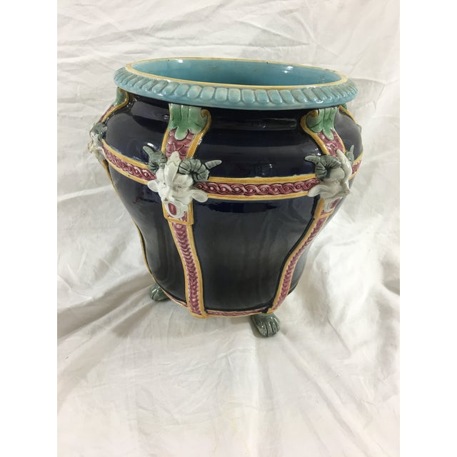 Late 19th Century French Majolica Cachepot With Satyrs For Sale - Image 5 of 8