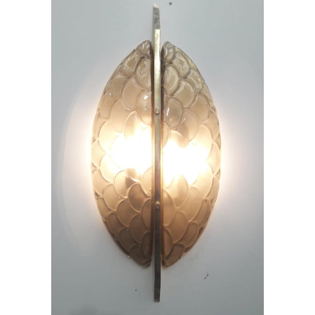 Italian Pair of Luna Oro Sconces / Flush Mounts by Fabio Ltd For Sale - Image 3 of 6